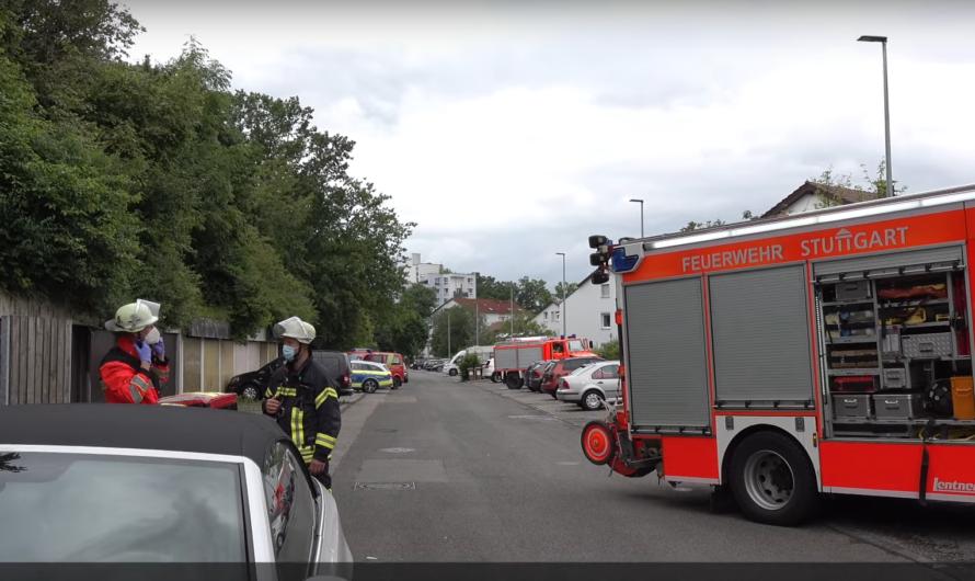 Brand 4 🔥 brennender Wäschetrockner im Keller 🚒 Feuerwehr Stuttgart löscht Feuer zügig ab 👨🚒