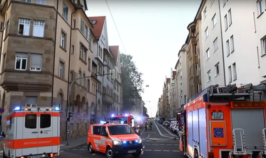 🔥 Brand 4 – Olgastraße Stuttgart] 🚒🚒 Feuerwehr mit Löscharbeiten im Kellergeschoss in S-Mitte